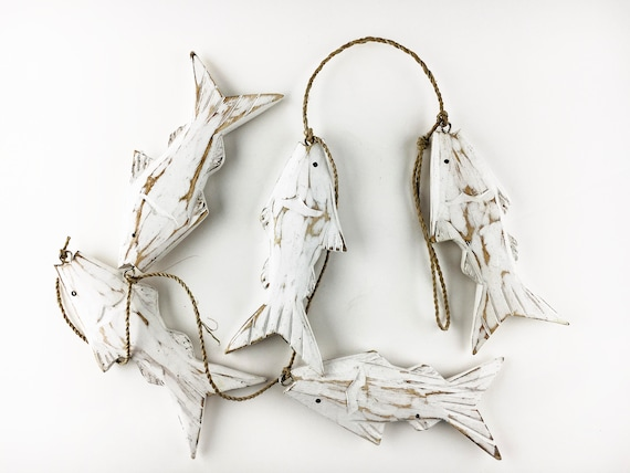 Beach Decor, White Washed Wood Fish Garland Vintage Style,  by SEASTYLE