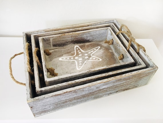 Beach decor Set of 3 trays Nautical Wooden Distressed by SEASTYLE