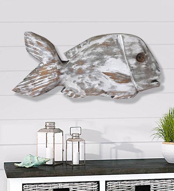 "Driftwood Sand Drums Fish 19x8x2"" 2d Beach Décor Sculpture by SEASTYLE"