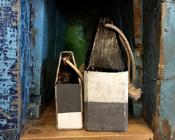 Coastal Decor Set White Grey Black Lobster Buoy Nautical Wooden by SEASTYLE