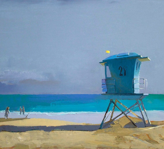 "Oil Painting, 24x36"", Lifeguard Tower at the Beach, Beach Decor  by B. Kravchenko for SEASTYLE FREE U.S. SHIPPING"