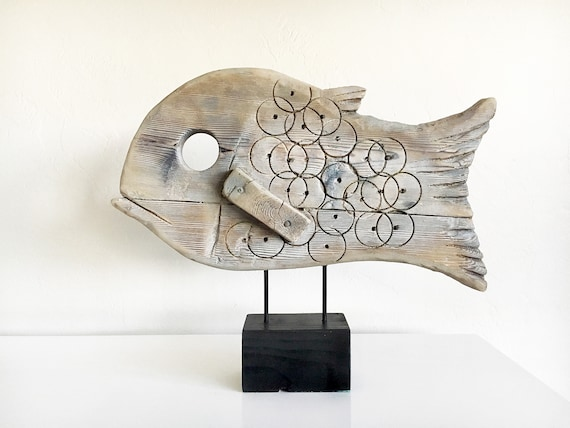 for michelleiwaniw Fish on Stand Black Driftwood Beach Décor by SEASTYLE
