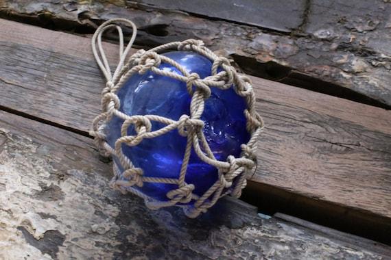"Beach Decor, Dark Blue Fishing Float, 6"", Vintage, Style by SEASTYLE"
