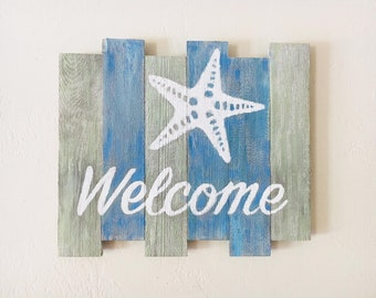 Beach decor Welcome sign Nautical Wooden Distressed by SEASTYLE