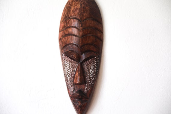 "Vintage Carved African Mask 16"" Wooden Beach Decor by SEASTYLE"