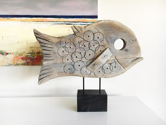 Fish on Stand Statue Driftwood Beach Décor by SEASTYLE