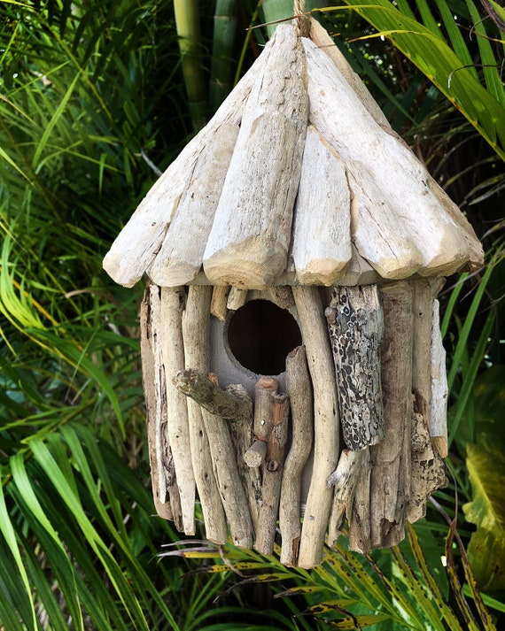 Beach Décor Driftwood Small Birds House Handmade by SEASTYLE