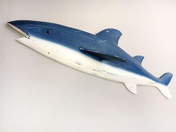 """Beach Décor 32"""" Shark Wood Sign Blue,  by SEASTYLE"""