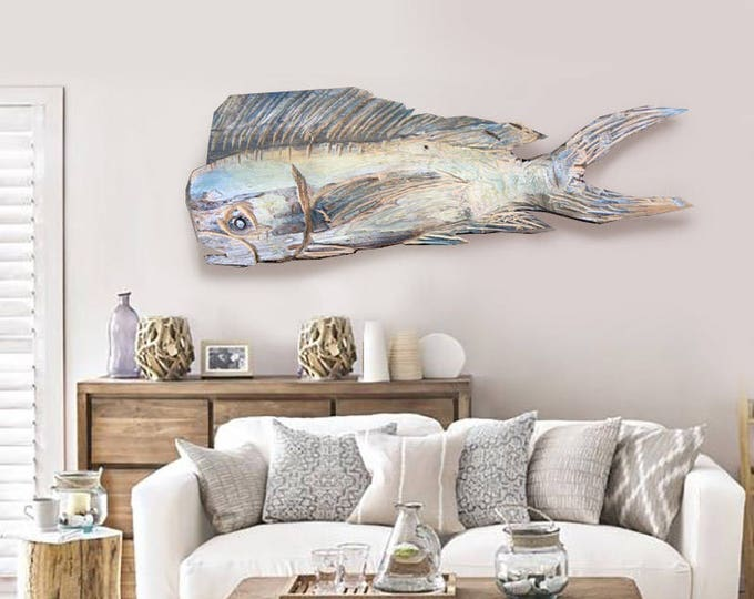 """Driftwood Beach Décor 45"""" Dolphinfish 2d sculpture by SEASTYLE"""