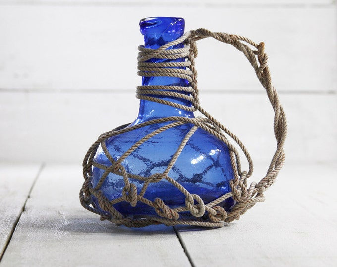 FREE SHIP Beach Decor Sky Сobalt Pirates Rum Jug in Rope Netting by SEASTYLE