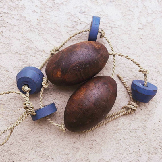 Beach Decor Brown and Blue Cedar Floats String Nautical Wooden by SEASTYLE