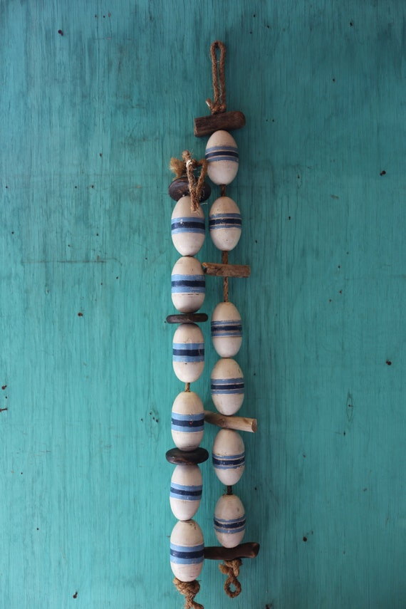 """Beach Decor, Vintage, 50"""" Blue and White  Lobster Buoy Nautical Wooden by SEASTYLE"""