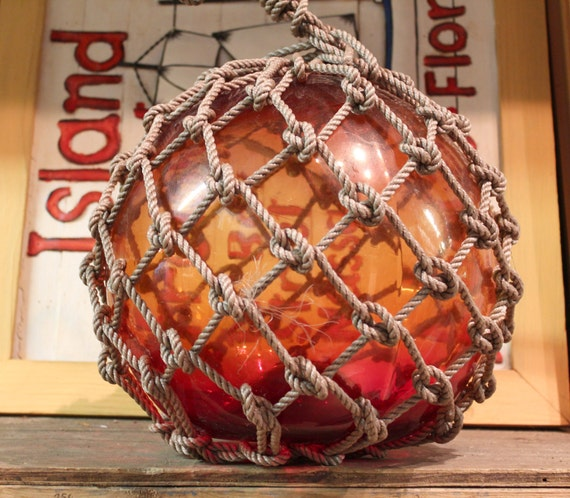 Beach Decor Red Super Big Orange Red Fishing Float by SEASTYLE
