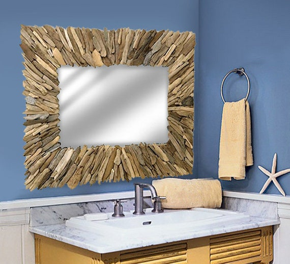 "Driftwood Mirror 36x40"" Handmade  Beach Decor Rustic by SEASTYLE"