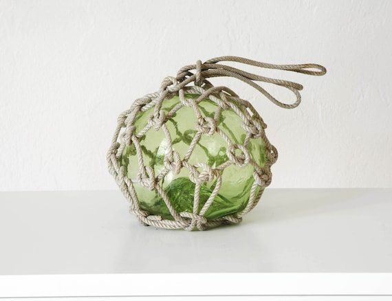 """Vintage Japanese 6"""" Glass Fishing Float Light Green  Beach Decor by SEASTYLE"""