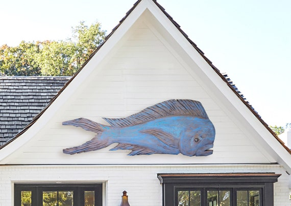"Driftwood Dolphinfish 56x22"" Outdoor Indoor Blue Beach House Décor 2d sculpture by SEASTYLE"