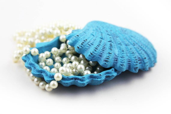 Stocking stuffers Gifts Caribbean Box for Jewelry Blue Distressed Cast Iron by SEASTYLE