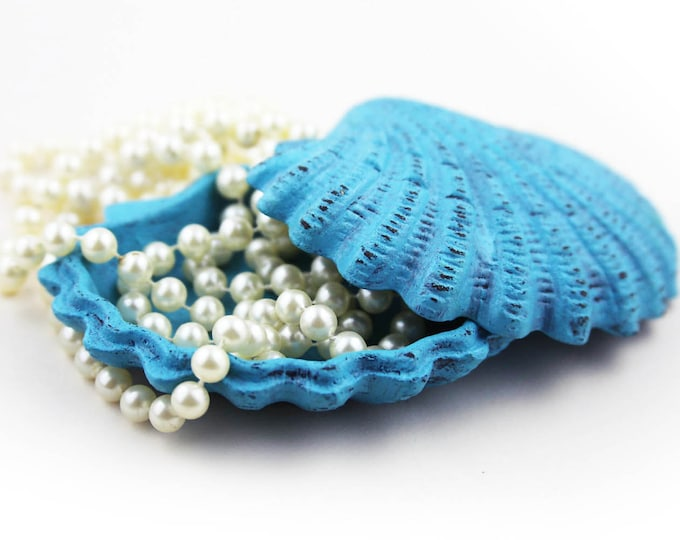 Wedding Gifts Caribbean Box for Jewelry Blue Distressed Cast Iron by SEASTYLE
