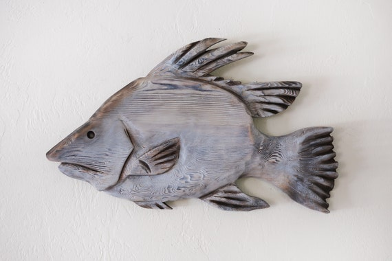 Hogfish 21x12 in Driftwood 2D Sculpture Beach Décor by SEASTYLE