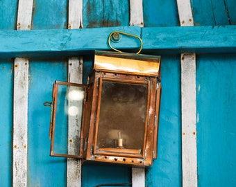 Copper Lantern, Beach Decor, Nautical, Vintage, Restored by SEASTYLE