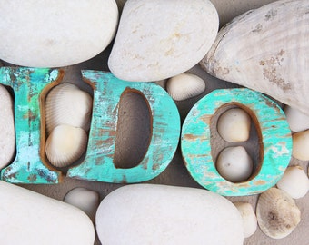 """Beach Wedding Decor """"I DO""""  Sign Vintage Style Nautical Wooden by Seastyle"""