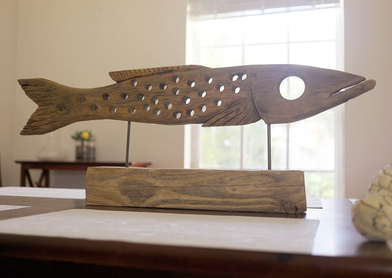 Fish on Stand Statue 33 in Driftwood Beach Décor by SEASTYLE