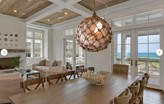 "Pendant Lighting 12.5"" Big Japanese Fishing Float, Beach decor by SEASTYLE"