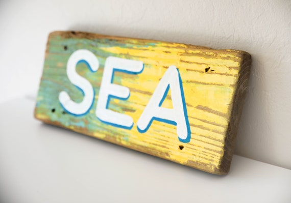 "Driftwood SEA Sign 16""  Nautical Beach decor by SEASTYLE"