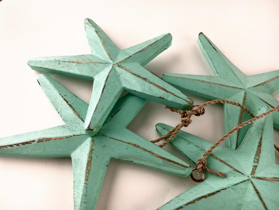 Beach Decor, Turquoise Wood Stars Garland Vintage Style,  by SEASTYLE