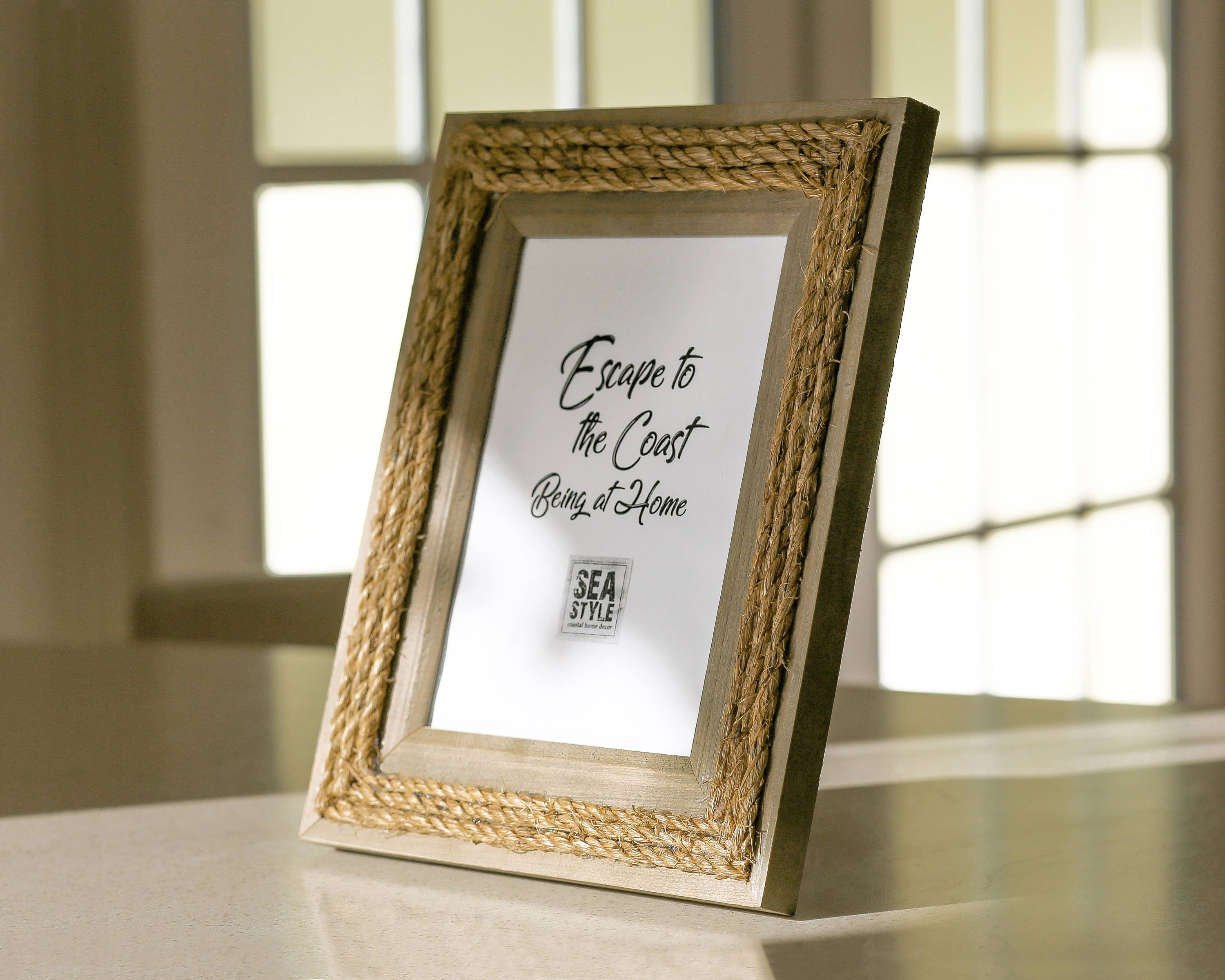 Nautical Wood Picture Frame Rope Beach Decor, by SEASTYLE