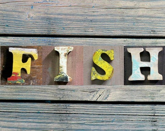 """FREE SHIP, Beach Decor, Letters """"Fish"""" Wooden, Vintage, Nautical, by Seastyle"""