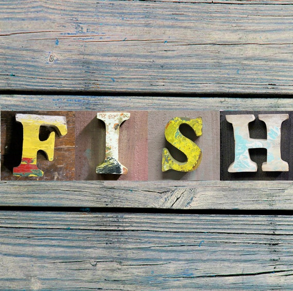 "FREE SHIP, Beach Decor, Letters ""Fish"" Wooden, Vintage, Nautical, by Seastyle"