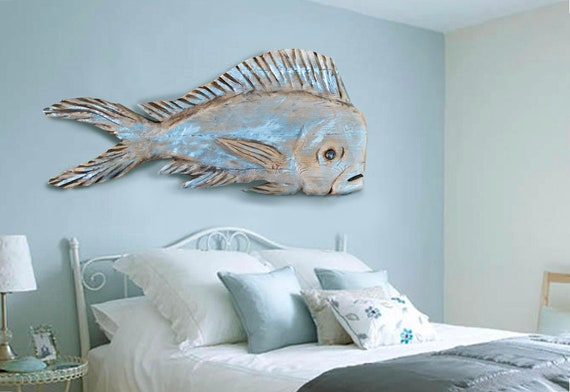 Driftwood 48 in Dolphinfish 2d sculpture Beach Décor by SEASTYLE