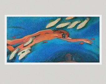 "Original Oil Painting ""Nothing but dream"" by Bo Kravhenko, FREE SHIP, Gift for Her, Holiday, Christmas, Decor, Thanksgiving"