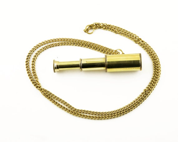 "Brass Telescope necklaces 1.5-3"" Extended Nautical SeaStyle"