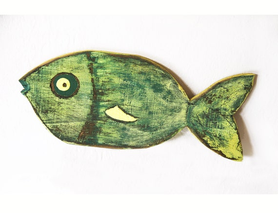 "Coastal Decor Fish 13x6"" Green Yellow Reclaimed Wood 2D Beach Décor Sculpture by SEASTYLE"