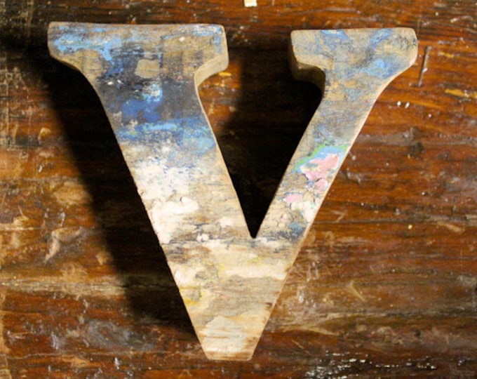Beach Decor Wooden letter V Vintage Style Nautical by SEASTYLE