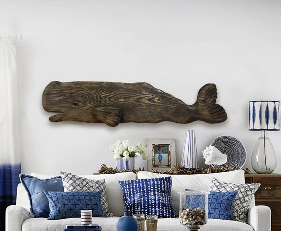 Whale 52 in Facing the Left 2D Sculpture Driftwood Beach Décor by SEASTYLE