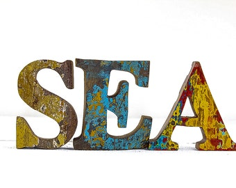 Beach Decor SEA Sign Vintage Style Nautical Wooden by Seastyle