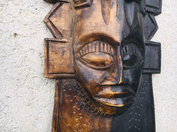 Beach Decor Wood African Mask Vintage by SEASTYLE