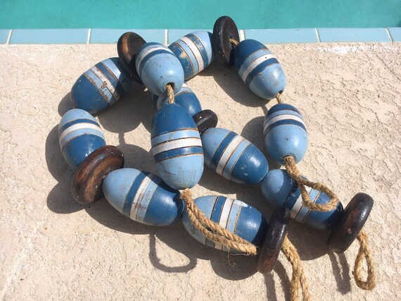 Vintage Lobster Buoy Blue White Beach Decor  Nautical Wooden by SEASTYLE