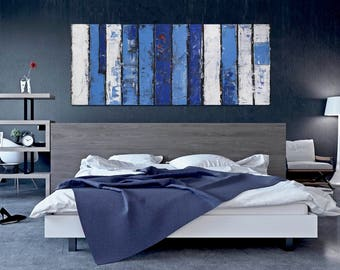 """Strip"""" 60 x 24"""" Painting XL FREE SHIP Acrylic Abstract Original by Bo Kravchenko Modern Contemporary Home & Living Gift Blue White"""