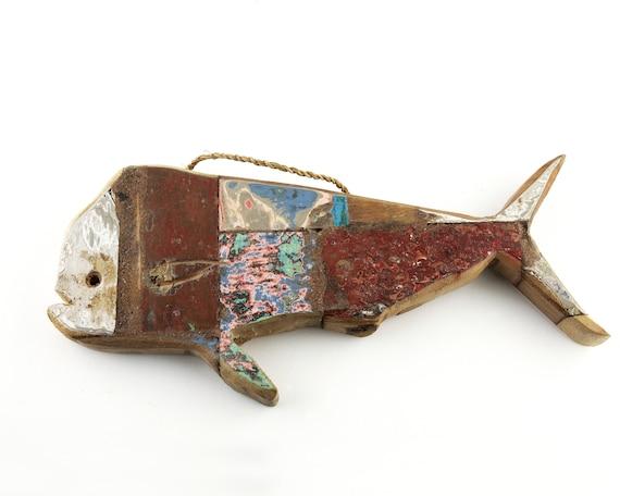 Vintage Mahi-Mahi Dolphinfish Fish Teak plum Beach Decor Nautical by SEASTYLE