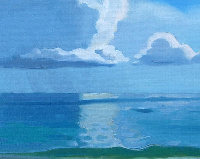 """SALE Beach Decor Original Oil Painting """"Sunny Day"""" by SEASTYLE"""