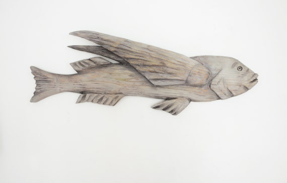 Fly Fish 42 inch 2D sculpture Driftwood Beach Décor by SEASTYLE