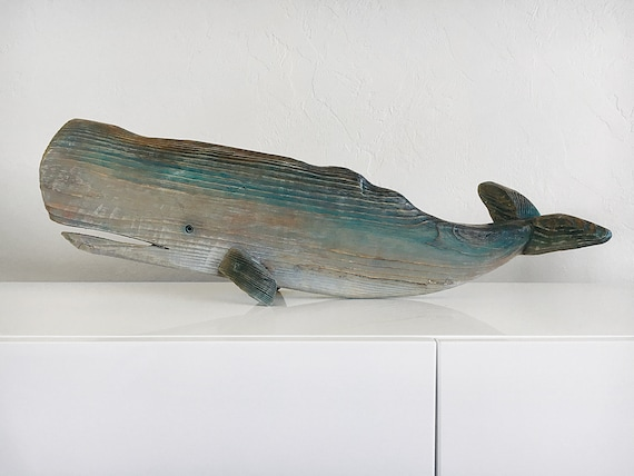 Driftwood Whale Statue Beach Décor by SEASTYLE