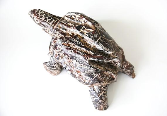 """Turtle TEAK Abstract Art 15x12x6"""" Beach Décor by SEASTYLE"""