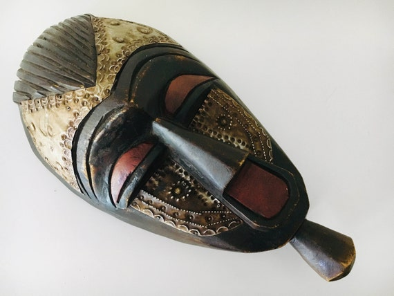 "Vintage Carved African Mask 13"" Wooden Beach Decor by SEASTYLE"