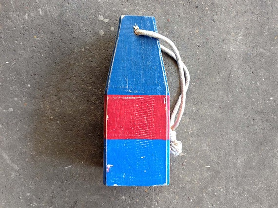 """Beach Decor, 12,5"""" Old-style lobster float buoy, Red, Blue, Vintage Style, Nautical, by SEASTYLE"""