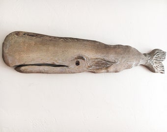 """Driftwood 46 """" Whale Wood Fish 2d sculpture Beach Décor by SEASTYLE"""
